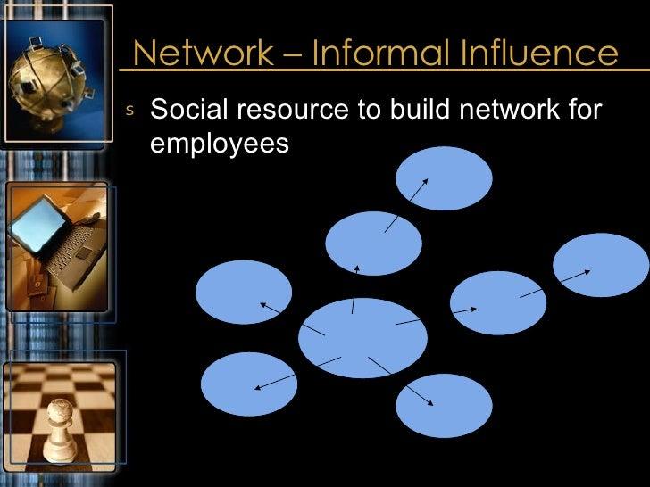 Network – Informal Influence <ul><li>Social resource to build network for employees </li></ul>
