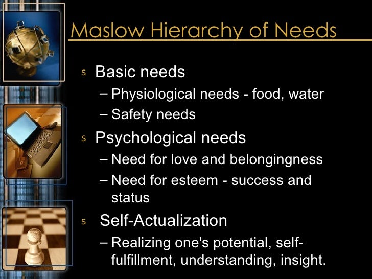 Maslow Hierarchy of Needs  <ul><li>Basic needs </li></ul><ul><ul><li>Physiological needs - food, water </li></ul></ul><ul>...