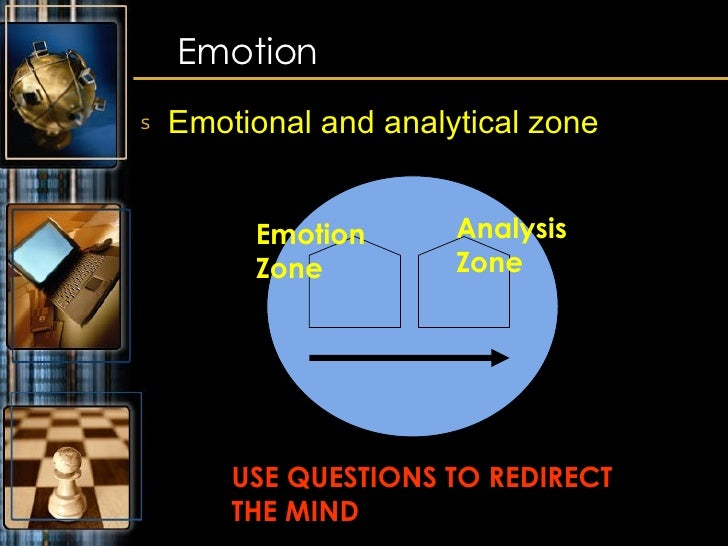 <ul><li>Emotional and analytical zone </li></ul>Emotion Emotion Zone Analysis Zone USE QUESTIONS TO REDIRECT  THE MIND