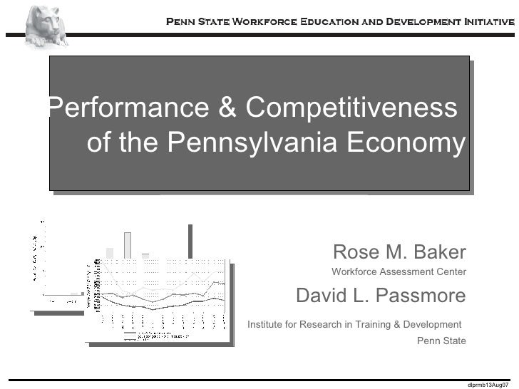 Performance & Competitiveness  of the Pennsylvania Economy Rose M. Baker Workforce Assessment Center David L. Passmore Ins...