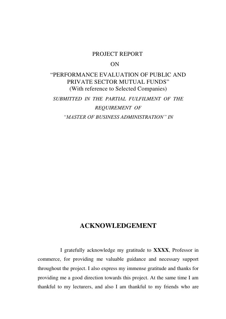 """PROJECT REPORT                                 ON     """"PERFORMANCE EVALUATION OF PUBLIC AND          PRIVATE SECTOR MUTUAL..."""