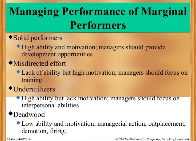 Managing Performance of Marginal Performers  Solid  performers   High  ability and motivation; managers should provide d...