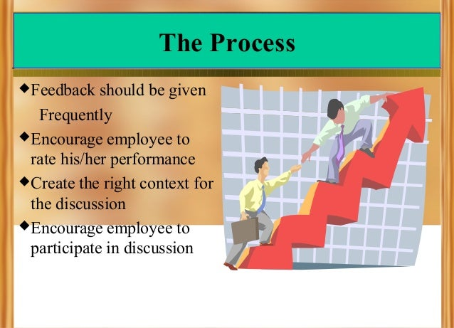 The Process  Feedback  should be given Frequently  Encourage employee to rate his/her performance  Create the right con...