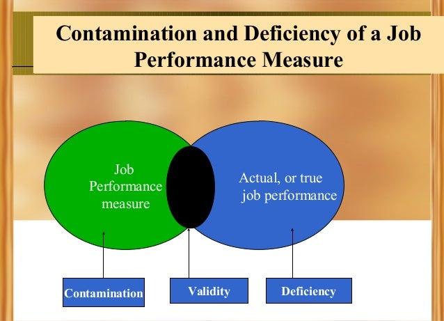 Contamination and Deficiency of a Job Performance Measure  Job Performance measure  Contamination  Actual, or true job per...