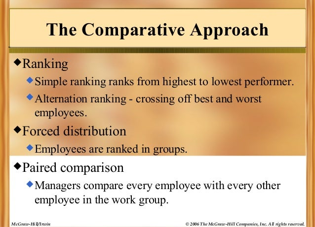 The Comparative Approach Ranking  Simple  ranking ranks from highest to lowest performer.  Alternation ranking - crossi...
