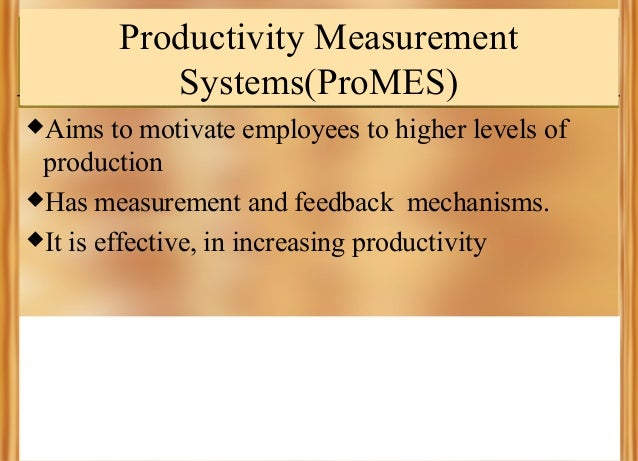 Productivity Measurement Systems(ProMES) Aims  to motivate employees to higher levels of production Has measurement and ...