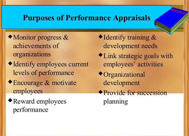 Purposes of Performance Appraisals  Monitor  progress & achievements of organizations  Identify employees current levels...