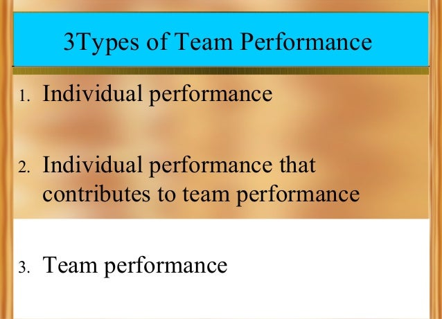 3Types of Team Performance 1.  Individual performance  2.  Individual performance that contributes to team performance  3....