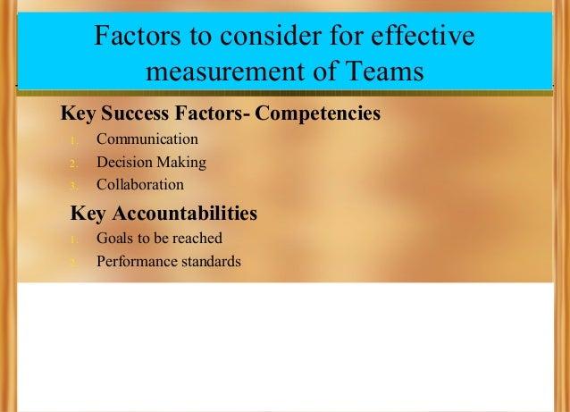 Factors to consider for effective measurement of Teams Key Success Factors- Competencies 1. 2. 3.  Communication Decision ...