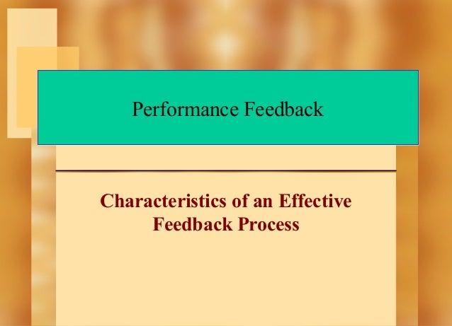Performance Feedback  Characteristics of an Effective Feedback Process