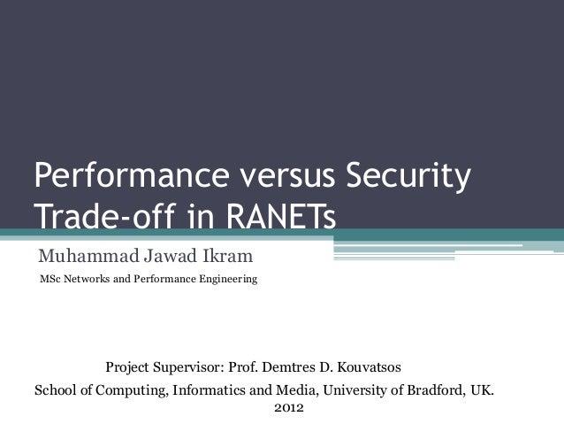 Performance versus Security Trade-off in RANETs Muhammad Jawad Ikram School of Computing, Informatics and Media, Universit...