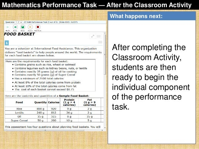 sbac-performance-task-overview-43-638 Overview Of Performance Tasks Example on example of constructed response, example of geometry, example of test, example of rate, example of skills, example of collaborative learning, example of holistic scoring, example of standards, example of literary luminary, example of vocabulary, example of project, example of technology, example of interview, example of problem solving, example of activity, example of multiple intelligences, example of bloom's taxonomy, example of iep, example of critical thinking, example of validity,