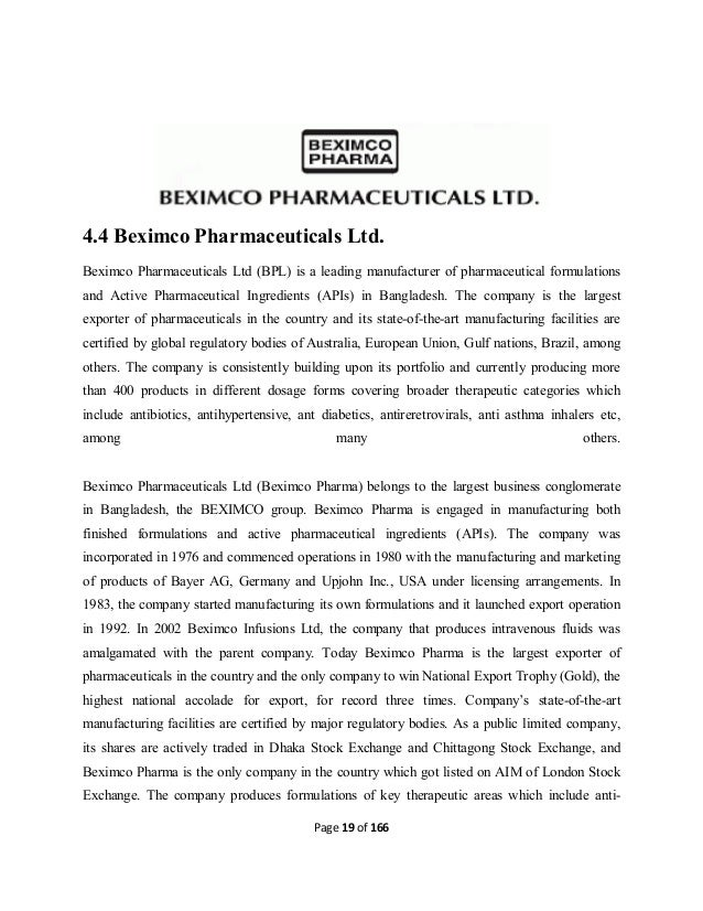 performance dynamics of beximco pharmaceuticals ltd Performance dynamics of beximco pharmaceuticals ltd essay  beximco pharmaceuticals ltd is a leading edge pharmaceutical company and is a member of the beximco.