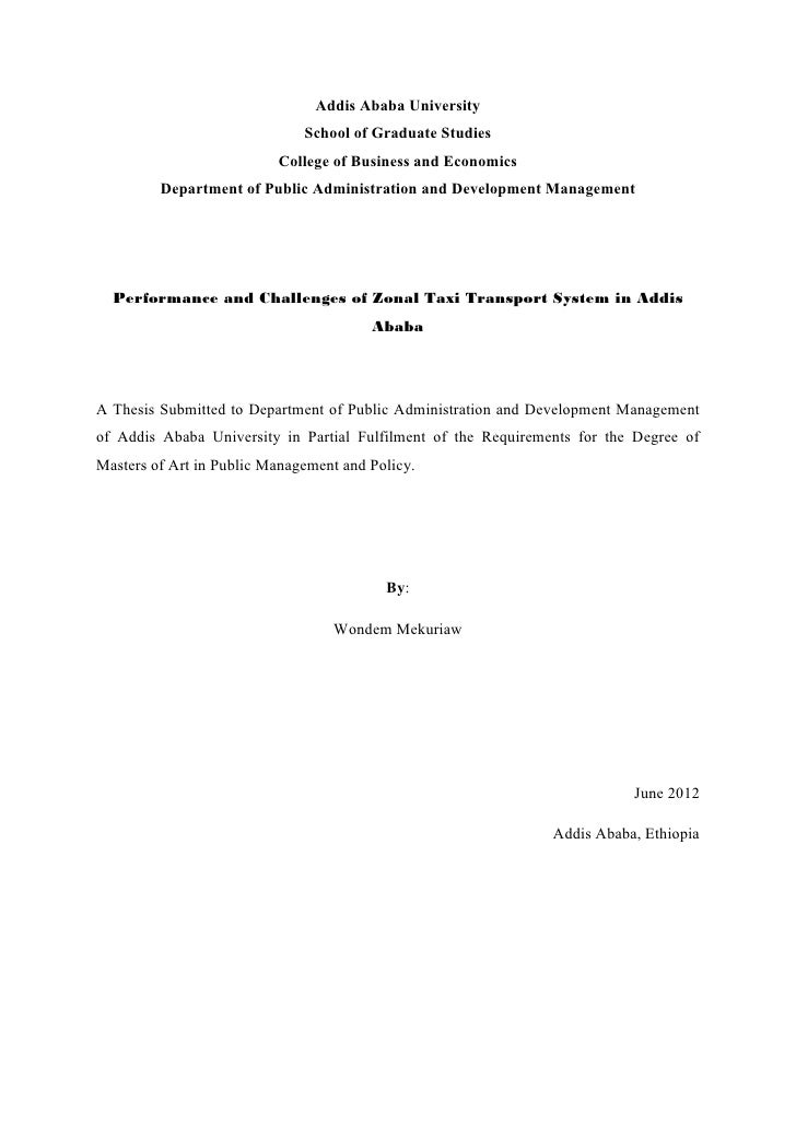 Performance and challenges of zonal taxi transport system in addis ab…
