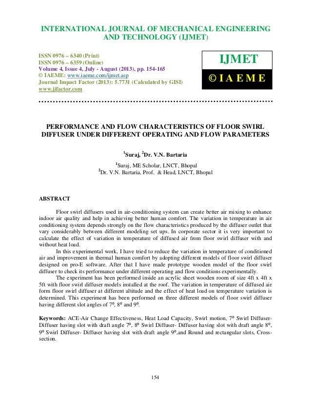 Performance And Flow Characteristics Of Floor Swirl Diffuser Under Di U2026