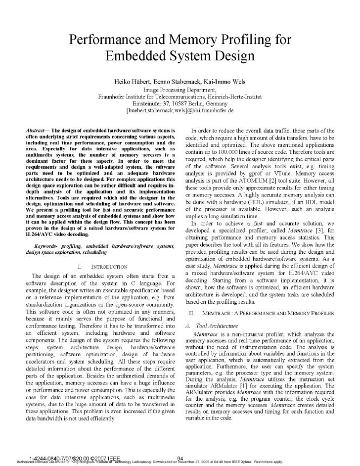 Performance and Memory Profiling for                                       Embedded System Design                         ...