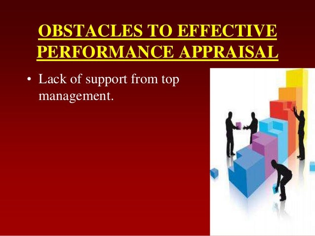 OBSTACLES TO EFFECTIVEPERFORMANCE APPRAISAL• Lack of support from topmanagement.