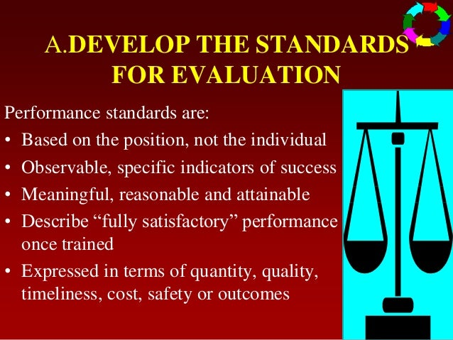 A.DEVELOP THE STANDARDSFOR EVALUATIONPerformance standards are:• Based on the position, not the individual• Observable, sp...