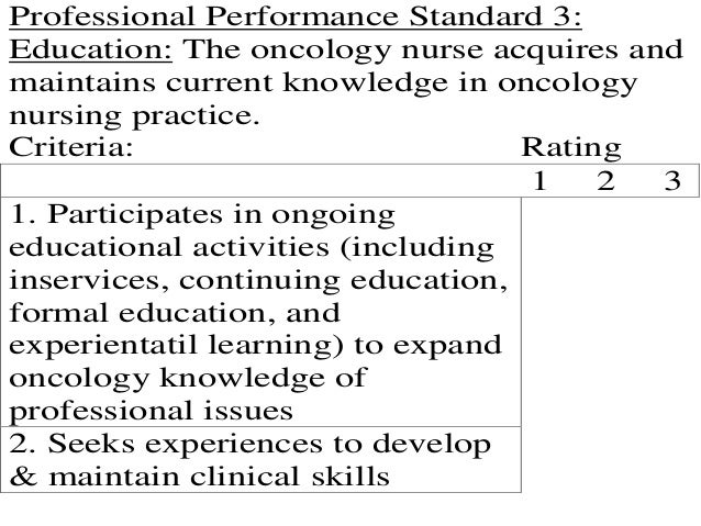 Professional Performance Standard 3:Education: The oncology nurse acquires andmaintains current knowledge in oncologynursi...