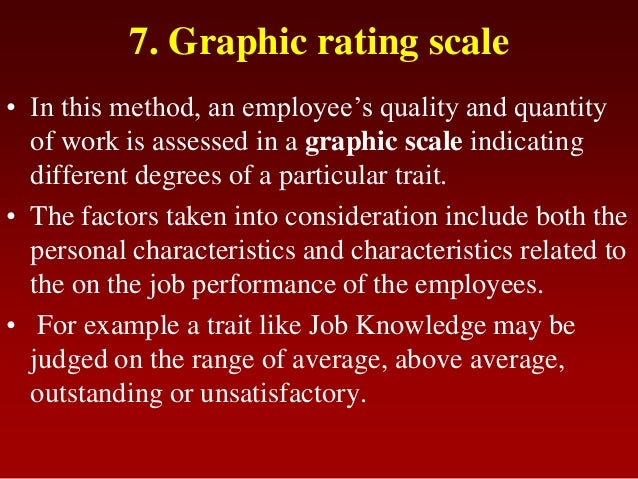 7. Graphic rating scale• In this method, an employee's quality and quantityof work is assessed in a graphic scale indicati...