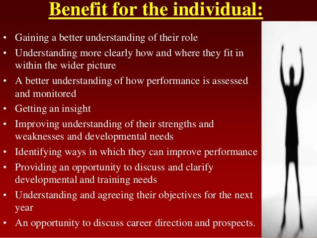 Benefit for the individual:• Gaining a better understanding of their role• Understanding more clearly how and where they f...