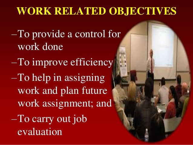 WORK RELATED OBJECTIVES–To provide a control forwork done–To improve efficiency–To help in assigningwork and plan futurewo...