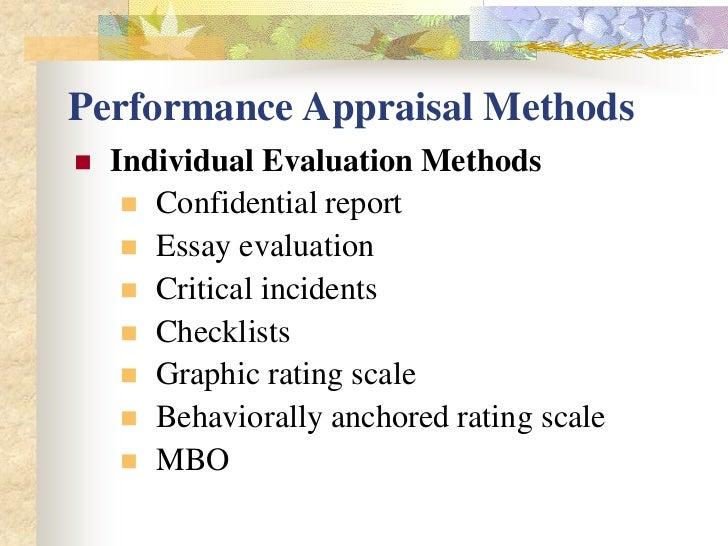 essay evaluation method performance appraisal