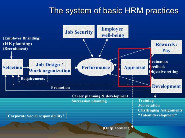 The system of basic HRM practicesThe system of basic HRM practices Selection Job Design / Work organization Performance Ap...