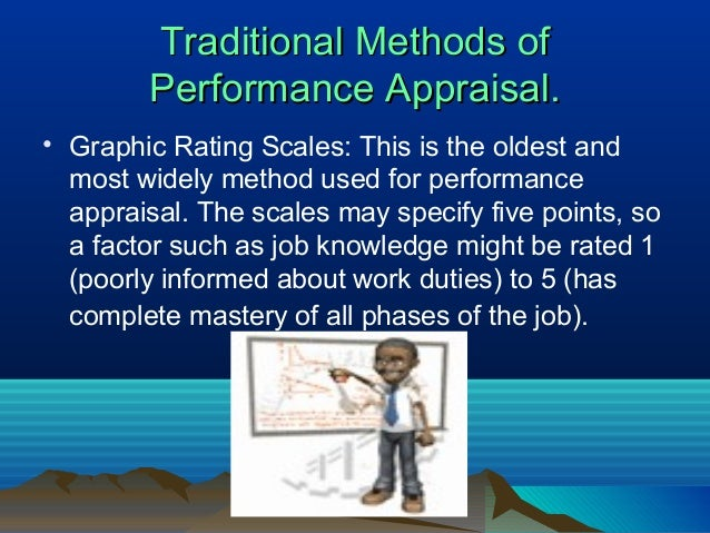 Traditional Methods ofTraditional Methods of Performance Appraisal.Performance Appraisal. • Graphic Rating Scales: This is...