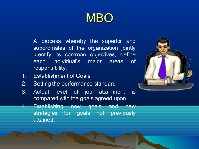 MBOMBO A process whereby the superior and subordinates of the organization jointly identify its common objectives, define ...