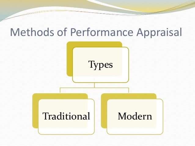 modern methods of performance appraisal (1) assessment centre method—the purpose of this method is to test candidates in a social situation, using a number of assessors and variety of procedures the feature of the assessment centre method is job related simulations these simulations involve characteristics that managers feel are the.