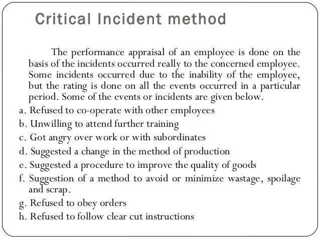 examples for critical incident analysis The critical incident analysis (cia) model introduced in this article is a pictorial  recent examples of natural, uncontrollable events that carry significant.