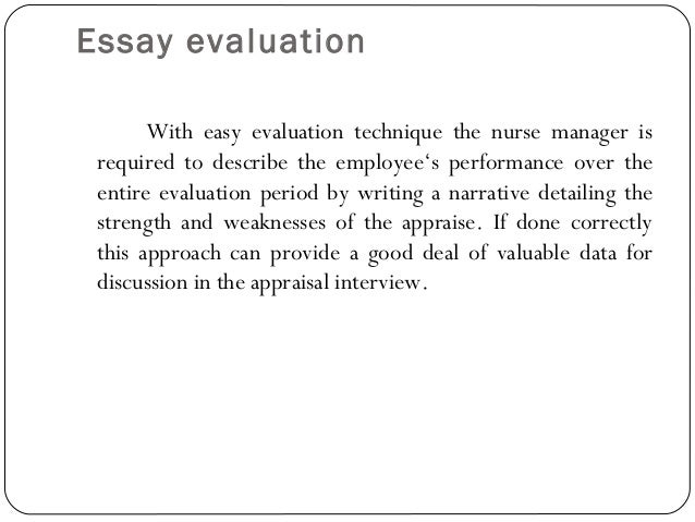 Essay evaluation method