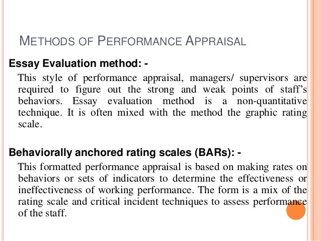 performance appraisal methods of performance appraisal essay