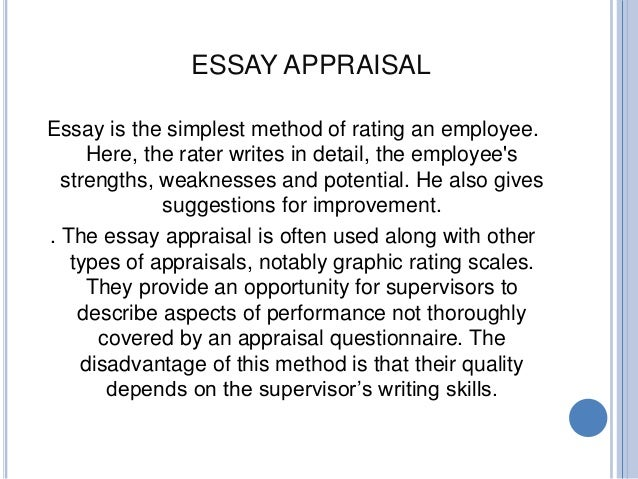 developing a performance appraisal system essay Developing a performance appraisal system mary colon torres university of phoenix hsm220 harold dobbins developing a performance appraisal system an appraisal system may provide a human service organization in numerous of techniques.