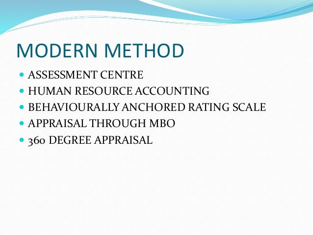 MODERN METHOD  ASSESSMENT CENTRE  HUMAN RESOURCE ACCOUNTING  BEHAVIOURALLY ANCHORED RATING SCALE  APPRAISAL THROUGH MB...