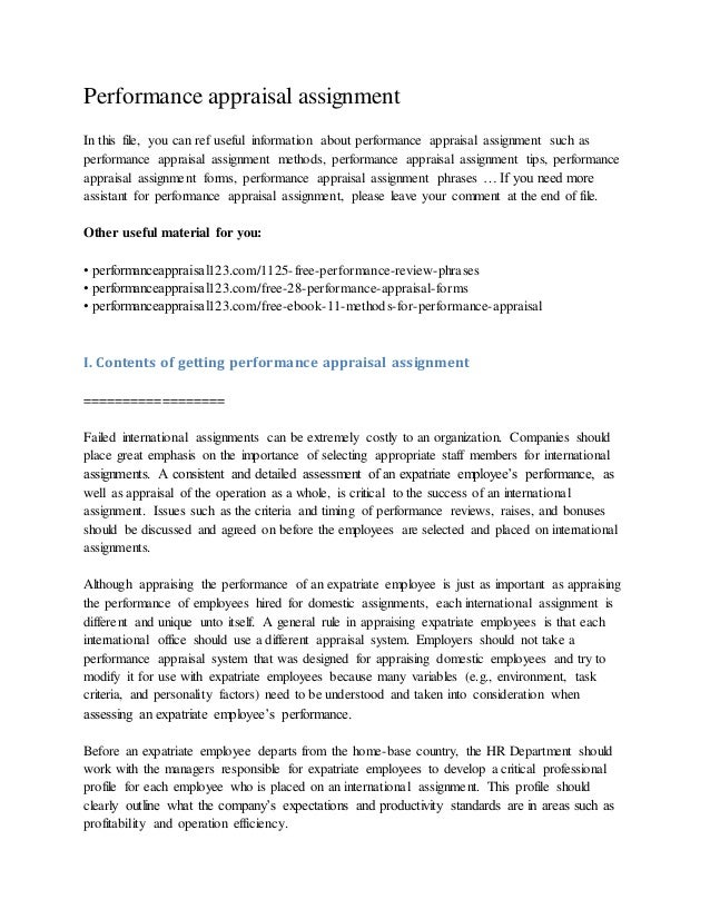Performance appraisal assignment In this file, you can ref useful information about performance appraisal assignment such ...