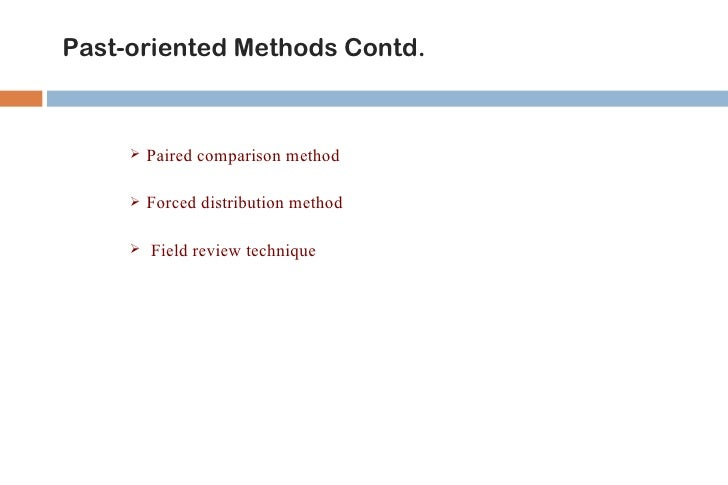 Future-oriented Methods   Management by objective   360o Feedback Method   Psychological Appraisals   Assessment Centre