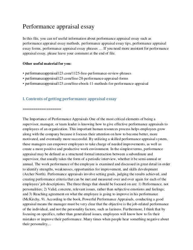 performance appraisal 5 essay View essay - 5-2 performance appraisaldocx from hcm 320 at southern new hampshire university .