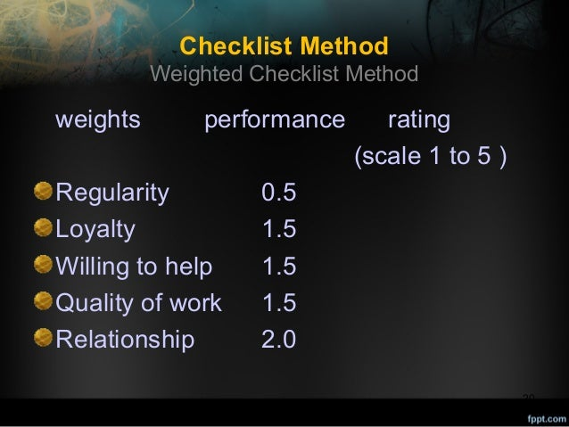 Checklist Method Weighted Checklist Method  weights  performance  Regularity Loyalty Willing to help Quality of work Relat...