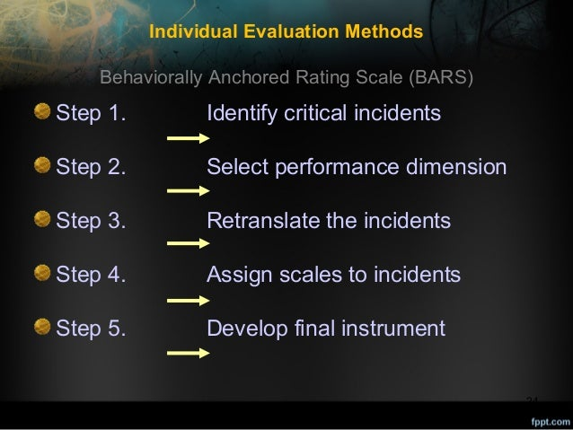 Individual Evaluation Methods Behaviorally Anchored Rating Scale (BARS)  Step 1.  Identify critical incidents  Step 2.  Se...