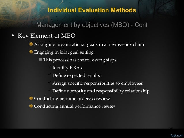 Individual Evaluation Methods Management by objectives (MBO) - Cont • Key Element of MBO Arranging organizational goals in...