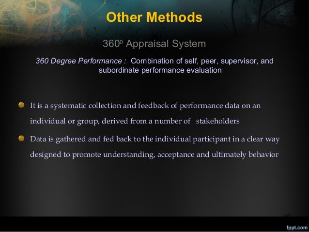 Other Methods 3600 Appraisal System 360 Degree Performance : Combination of self, peer, supervisor, and subordinate perfor...