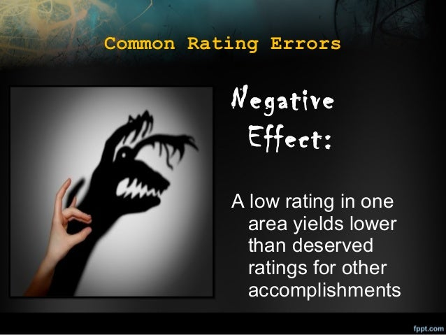 Common Rating Errors  Negative Effect: A low rating in one area yields lower than deserved ratings for other accomplishmen...