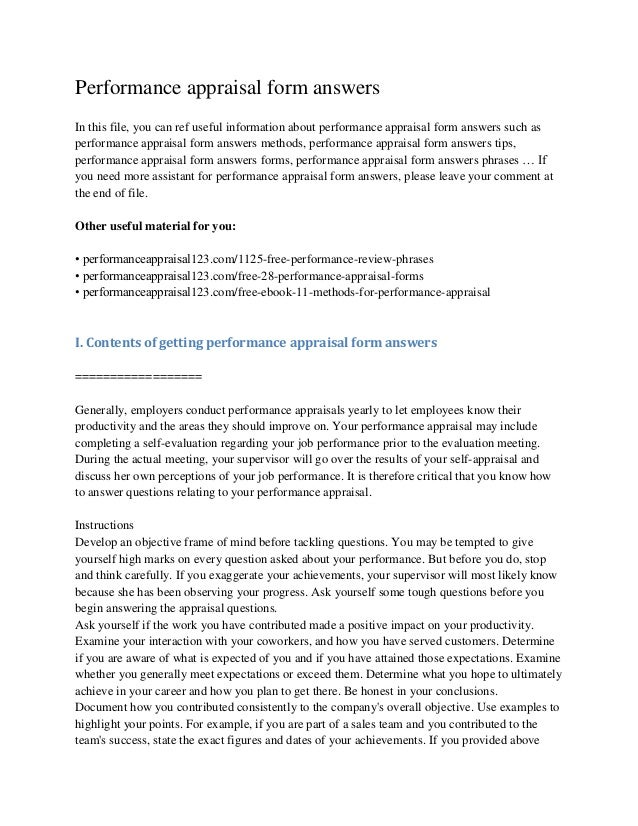 performance review form sample