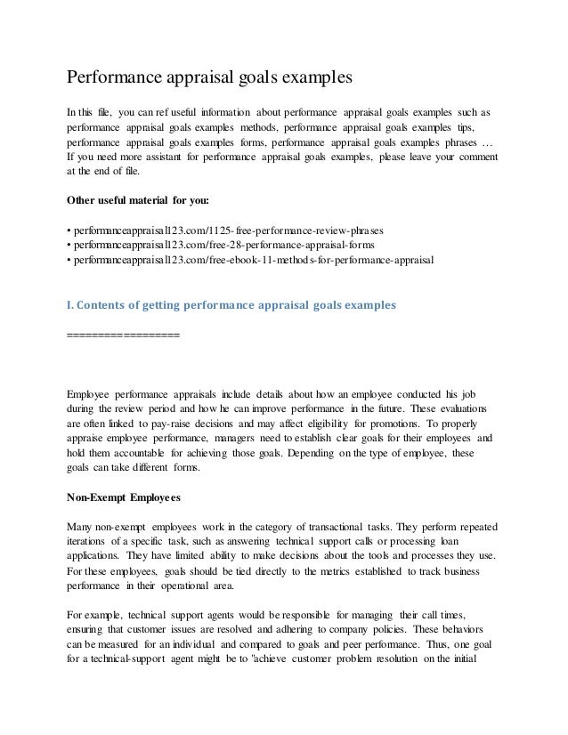 Performance Appraisal Goals Examples In This File, You Can Ref Useful  Information About Performance Appraisal ...