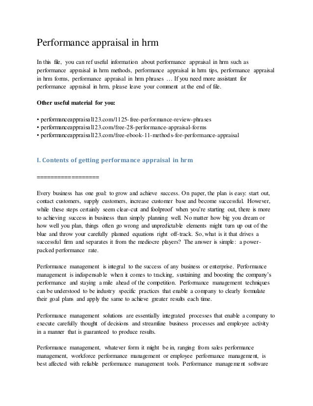 Performance appraisal in hrm In this file, you can ref useful information about performance appraisal in hrm such as perfo...