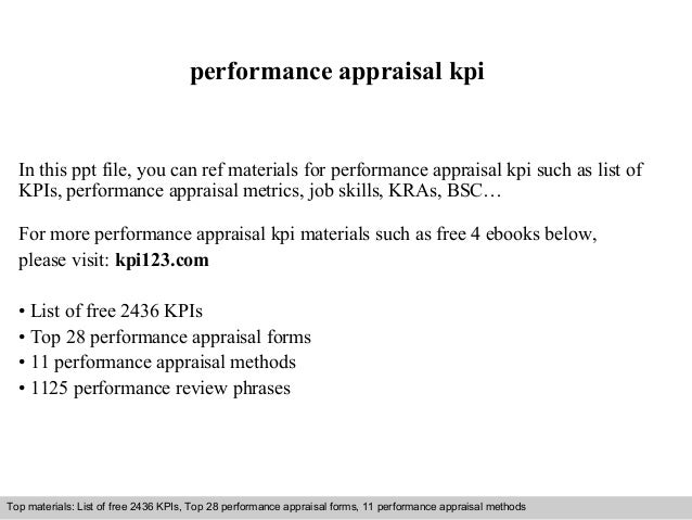 Performance Appraisal Kpi In This Ppt File, You Can Ref Materials For  Performance Appraisal Kpi ...