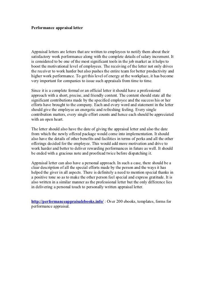 performance evaluation letter