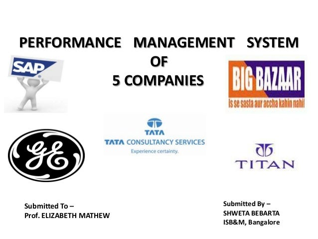 PERFORMANCE MANAGEMENT SYSTEM OF 5 COMPANIES  Submitted To – Prof. ELIZABETH MATHEW  Submitted By – SHWETA BEBARTA ISB&M, ...